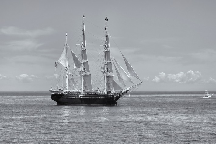 The majestic The Charles W. Morgan tall ship out for a sail_FINAL B&W