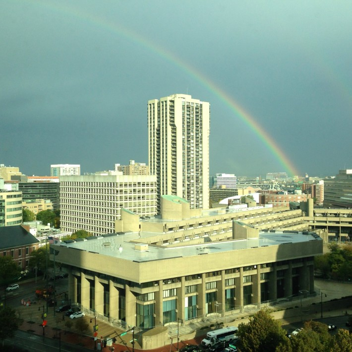 When a rainbow appeared outside my window at work (magical start to a hectic day)
