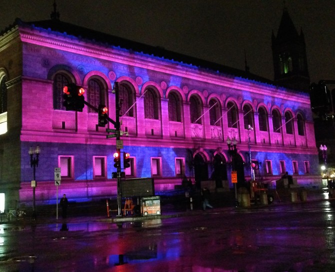 Boston Public Library Bathed in Light