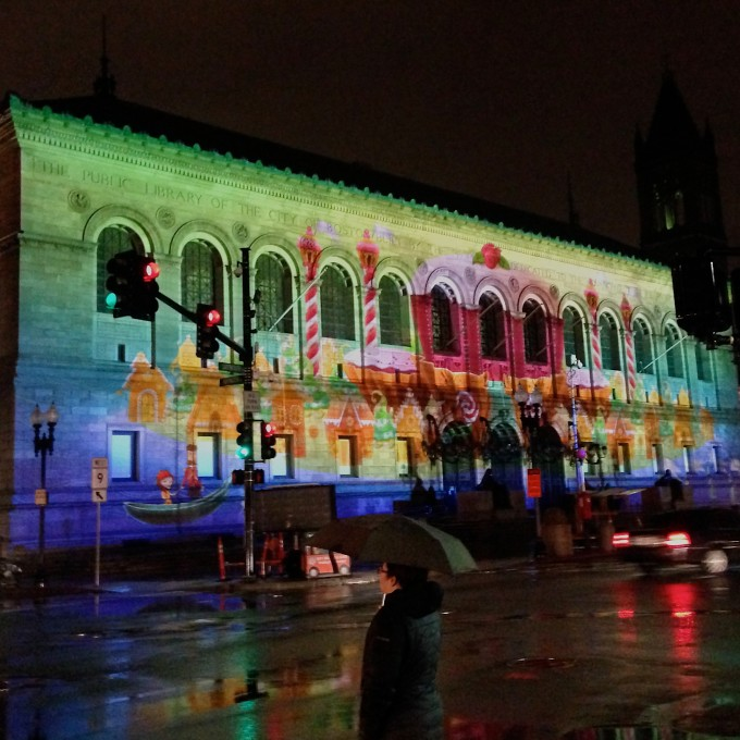 Nutcraker Lights on the Boston Public Library (with umbrella)