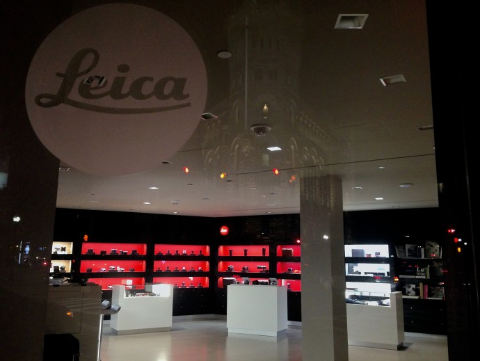 Leica Store Boston with looming, ghostly Park Plaza Castle reflection