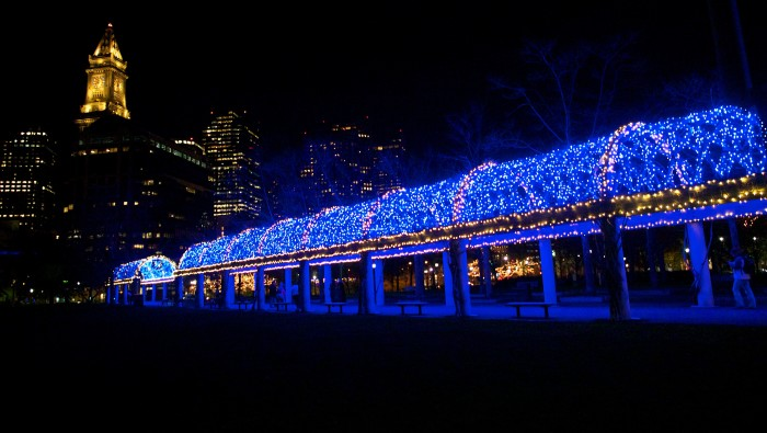 Christopher Columbus Park Lit Up for the Holidays