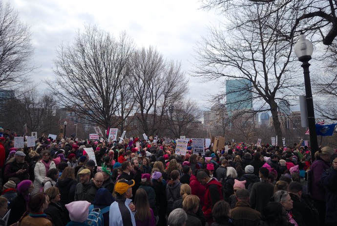 Boston Women's March pre-march speakers about to get underway