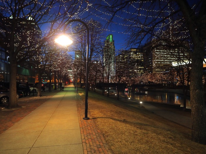 Downtown Walk with Holiday Lights