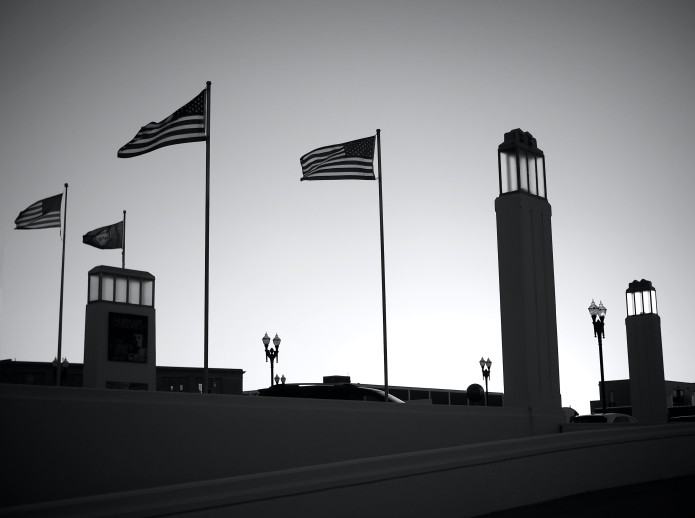 Setting Sun Illuminates Union Station Lights and Flags_final