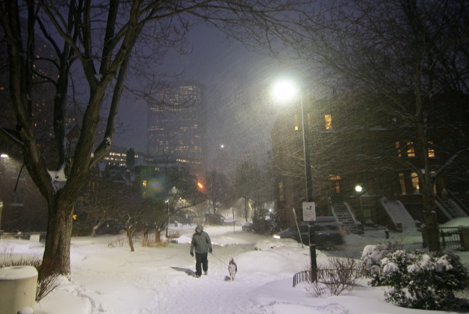 Walking the dog in heavy snow