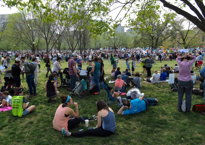 Lots of Kids at the Boston Climate March