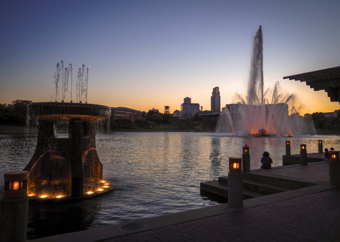two fountains after sunset